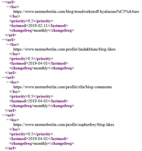 Sitemap XML erstellen: Eine klassische XML-Sitemap auf der Seite von Merme Berlin